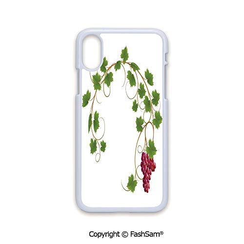 (Phone Case Compatible with iPhone X Black Edge Curved Ivy Branch Deciduous Woody Wines Seed Clusters Cabernet Kitchen 2D Print Hard Plastic Phone)
