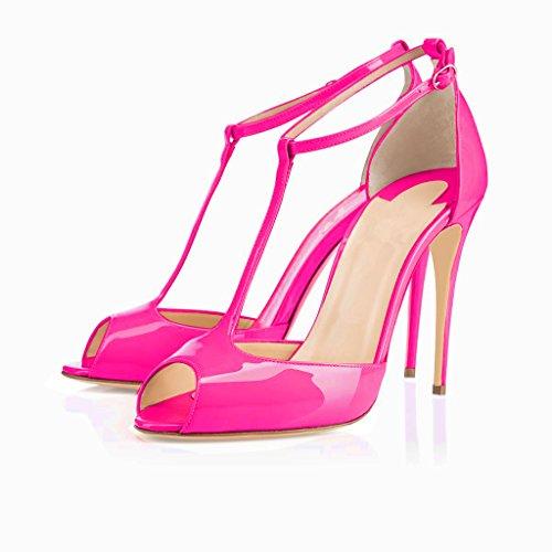 High Alto Ankle Sandali 10cm Dress Buckle Shoes cinghia Heel Sandals Pumps Caviglia T Womens Eldof 10 Plateau Tacco T Da Toe Pompe strap Centimetri Scarpe Peep Abito Rosa Fibbia Sposa Eldof Wedding Rose Womens w18Sq5Y