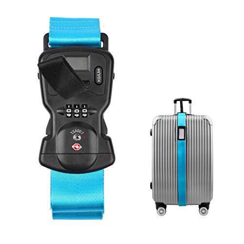 Smaior TSA Approved Luggage Straps Suitcase Belts, Baggage Straps Electronic Scale Password Lock-Available in 3 colors(Blue)
