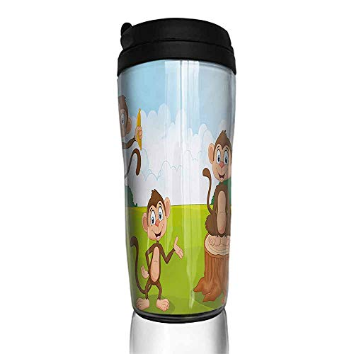 coffee cups for mom Nursery,Three Monkeys Playing in a Tropical Forest Banana Africa Safari Nature,Pale Blue Brown Green 12 oz,coffee cup decorations for the kitchen