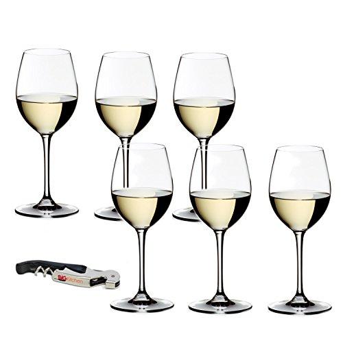 Riedel Vinum Crystal Sauvignon Blanc 6 Piece Wine Glass Set with Bonus BigKitchen Waiter's Corkscrew