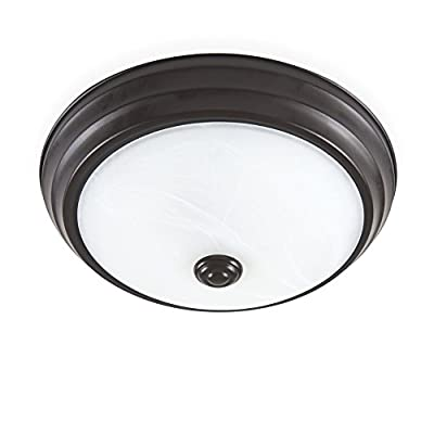 Designers Fountain EVLED502-34-DF Modern Satin Bronze LED Flush Mount with Alabaster Glass, 11""