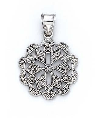 14k Yellow Gold Diamond Freeform Snowflake Pendant