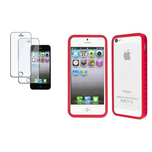 Rot Red TPU Gel Schutz Hülle Bumper Tasche Case +2x Folie für Apple iPhone 5