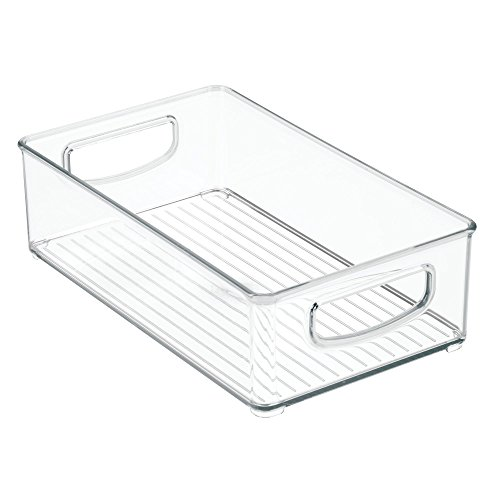 mDesign Stackable Storage Organizer Bin Tray with Built-in Handles - Holds Vitamins, Supplements, Serums, Essential Oils, Medical Supplies, First Aid Supplies - 3'' High - Pack of 2, Clear by mDesign (Image #6)