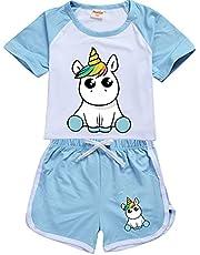 LIYIMING Pyjama's voor meisjes, eenhoorn-pyjama, set voor kinderen, zomer, korte mouwen, nachtkleding