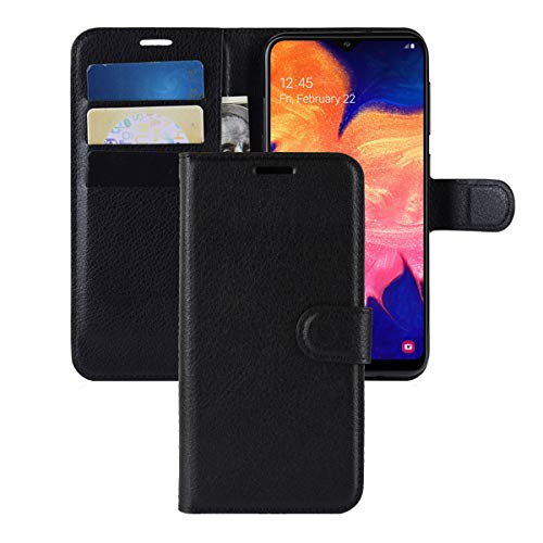 Galaxy A10 Case,CH-IC Protective Shockproof PU Leather Wallet Flip Folio Cover with Kickstand Card Holders Magnetic Closure for Samsung Galaxy A10 (Black)
