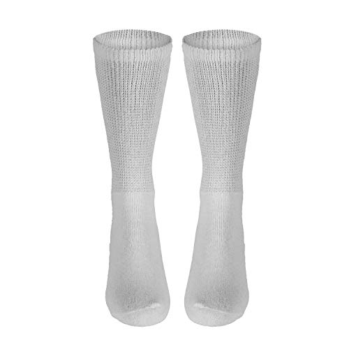 Health & Personal Care : NuVein Diabetic Socks Sensitive Foot Comfort Loose Knit, White, X-Large