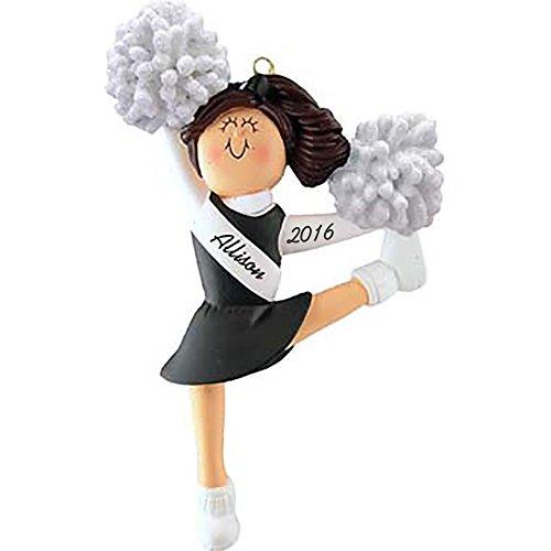 Cheerleader: Black Uniform, Brown Hair Personalized Christmas Ornament - Handpainted Resin - 5