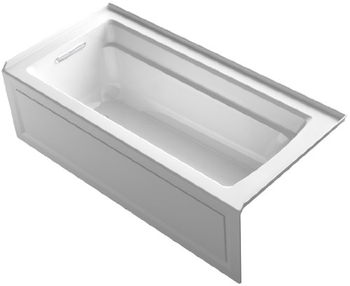KOHLER K-1948-LA-0 Archer ExoCrylic 66-Inch x 32-Inch Three-Side Integral Flange Bath with Apron and Left-Hand Drain, White