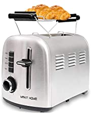 2 Slice Toaster,Stainless Steel Compact Toaster,Top Rated Best Prime, Retro Small Toaster with Bagel/Cancel/Defrost Function/Reheat,Extra Wide Slot,Compact Stainless Steel Toasters,Toasters oven