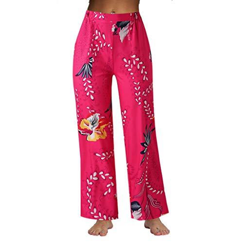 JOFOW Straight Leg Pants Womens Boho Ethnic Floral Flowers Comic Print Long Casual Loose Wide Leg High Waist Chino Trousers (L,Hot)
