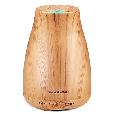 InnoGear Upgraded Aromatherapy Essential Oil Diffuser Portable Ultrasonic Diffusers Cool Mist Humidifier with 7 Colors LED Lights and Waterless Auto Shut-off for Home Office Bedroom from InnoGear