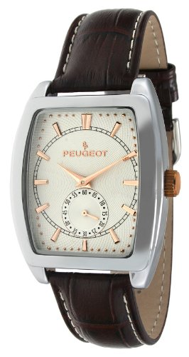Peugeot Men's 2027 Two-Tone Watch with Embossed Leather - Face Rectangular Men
