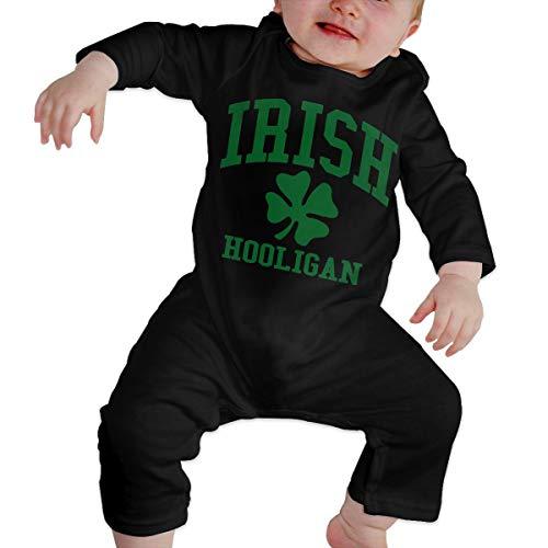 LBJQ8 Irish Hooligan Toddler Baby Girls Long Sleeve Bodysuit Outfits Clothes Black