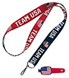WinCraft Bundle 2 Items: 1 United States Flag Stwrap Bag Id and 1 USOC Olympics Team USA 1 Lanyard