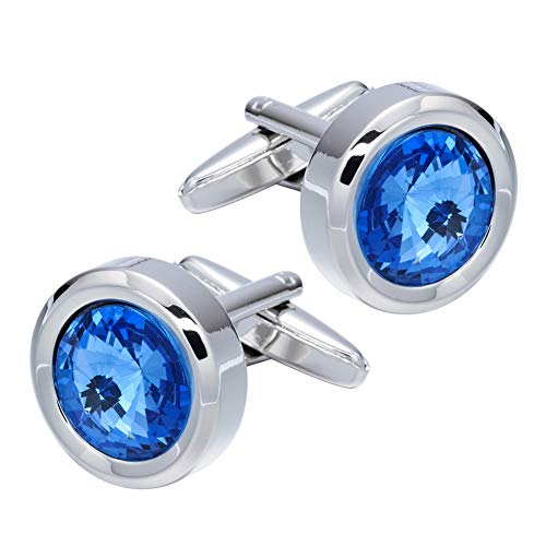Cufflinks Round Crystal (XYLINK Super Shiny Round Crystal Cufflinks for Men Tuxedo Shirt Cufflinks with Gift Box Wedding Business Party)