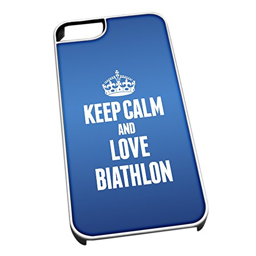 Bianco cover per iPhone 5/5S, blu 1700 Keep Calm and Love biathlon