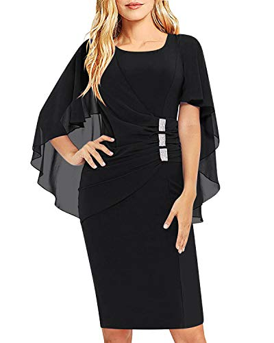 AUTCY Bodycon Dresses for Women, Ladies Elegant Formal Wedding Party Midi Dresses with Ruffle Chiffon Cape Black XL ()