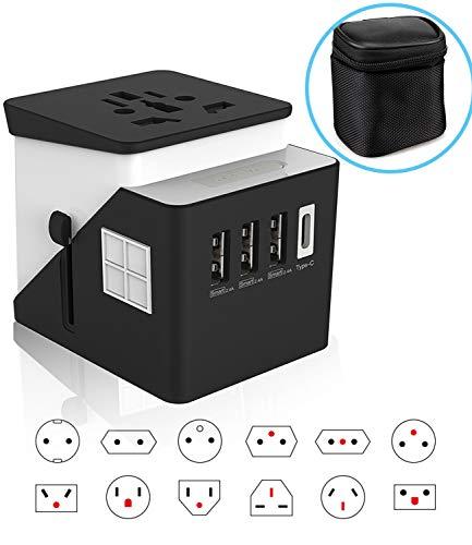 2019 Premium Universal World Travel Plug Adapter, 3 USB + 1 Typc C International Power Adapter for Europe, UK, China…