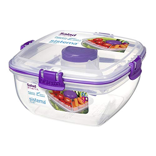 Sistema To Go Collection Salad Food Storage Container, 37 oz./1 L, Assorted Colors