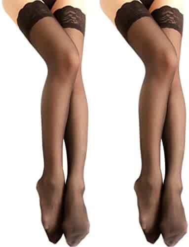 b7b3ad457f8 Charmnight Women s Sheer Thigh High Stockings Lace Top Reinforced Toe 2-Pack