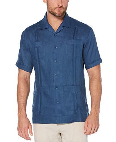 Cubavera Men's Short Sleeve 100% Linen Guayabera, Ensign Blue, X Large