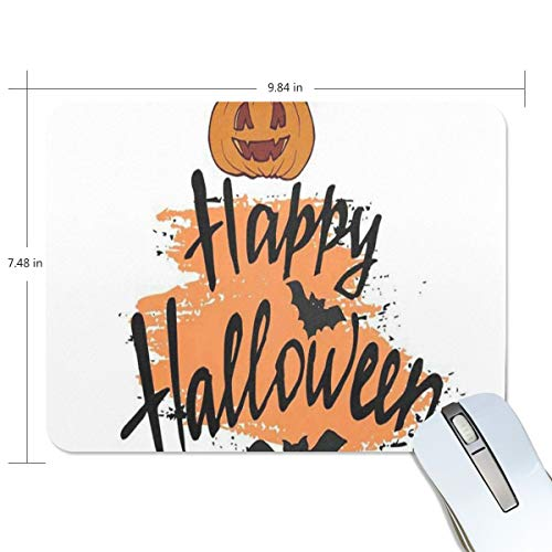 Funny Mouse Pad Personalized Happy Halloween Card Modern Brush Calligraphy Rectangle Shape for Office Computer Work (9.84 x 7.48 inch)