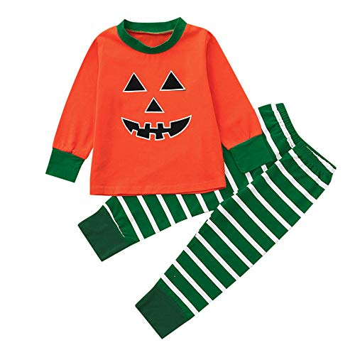 Halloween Clothes Sets,Pumpkin Long Sleeve Cute Tops Striped Pants Cap Pajamas(Orange,90)