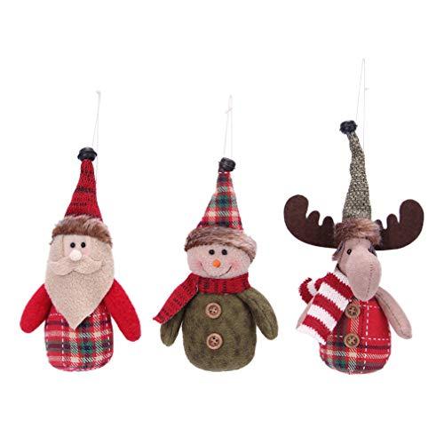 VIAME Handmade Christmas Tree Ornaments Snowman Santa Claus Deer Christmas Figurines Gifts Hanging Decor Toys for Christmas Tree Decorations(Figurine -