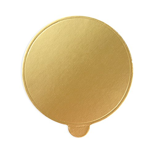 Round Disposable Serve Base, Coaster - Gold 3.5 Inches - Sturdy, Heavy Duty - 200ct Box - (Glazed Mini Muffins)