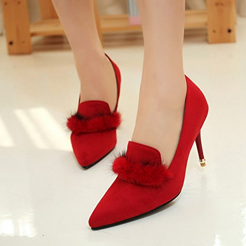 Mee Shoes Women's Charm Stiletto Pointed Toe Court Shoes Red irURxzI