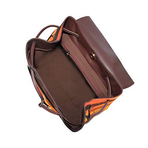 Indisk elefant solnedgång ryggsäck handväska mode PU-läder ryggsäck ledig ryggsäck för kvinnor