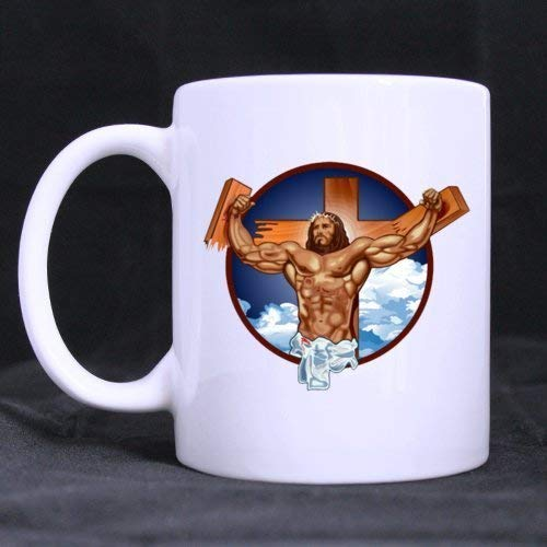 Funny Cool Jesus Is The Answer (Twin Side) Custom White Ceramic Mug Coffee Cup (11 Ounce)