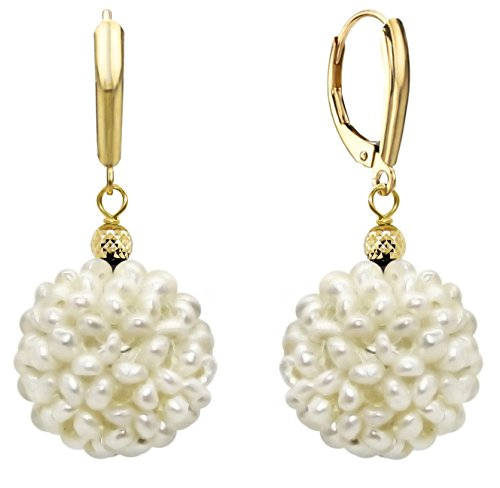14k Yellow Gold 18-19mm White Freshwater Cultured Pearl Cluster Drop (Gold Freshwater Pearl Cluster)