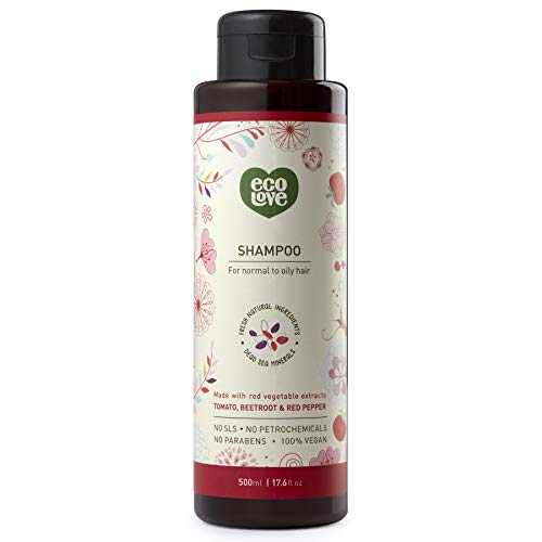 ecoLove Natural Shampoo for Normal to Oily Hair with Organic Tomato Beetroot and Red Pepper, Vegan Shampoo for Women and Men, SLS Paraben and Cruelty Free, 17.6 oz