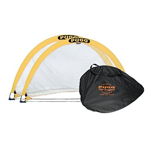 PUGG 6 Foot Pop Up Soccer Goal - Portable Training Futsal Football Net - The Original Pickup Game Goal (2 Goals and Bag) (Game Goal Net)