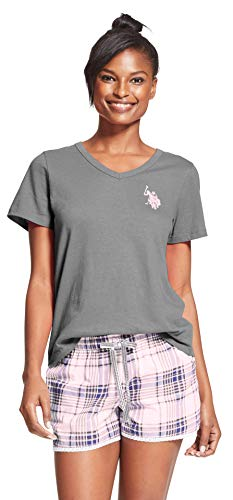 U.S. Polo Assn. Womens 2 Piece Cap Sleeve Shirt Elastic Waist Pajama Shorts Set Charcoal Heather Cloud Medium