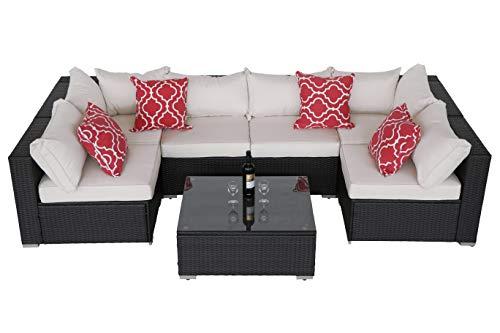 Do4U Patio Sofa 7-Piece Set Outdoor Furniture Sectional All-Weather Wicker Rattan Sofa Beige Seat & Back Cushions, Garden Lawn Pool Backyard Outdoor Sofa Wicker Conversation Set (Beige) (Factory Patio Direct Furniture)