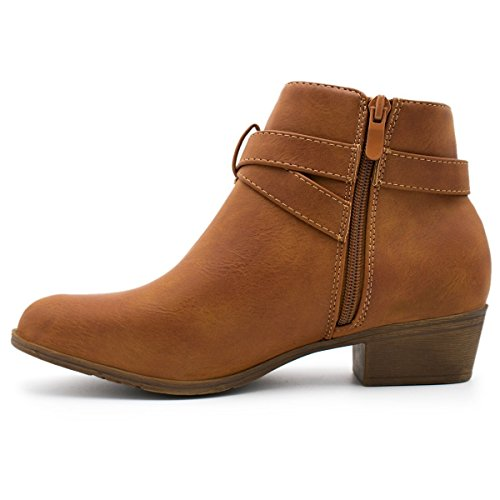 Straps Low Ankle Moda Women's Pu Stacked Heel Cl 14 Top Booties Tan1 Buckle nXzSxwxO