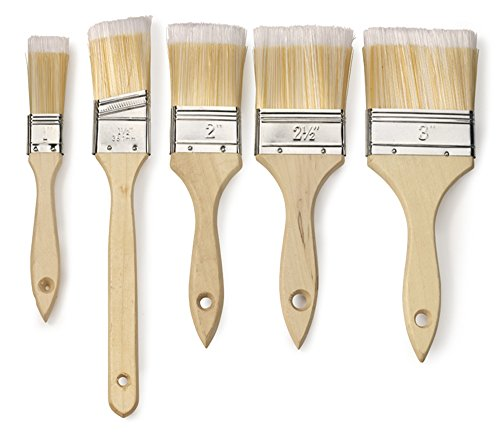 Neiko 00428 Paint and Chip Brush Set with Wood Handles | 5-Piece