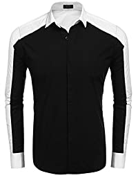Coofandy Men's Long Sleeve Contrast Color Patchwork Casual Button Down Shirt