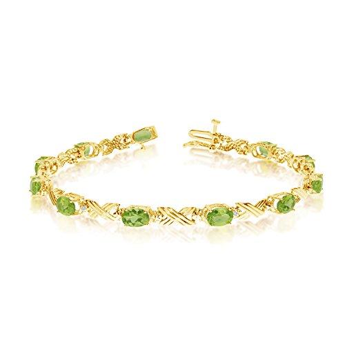 4.40 Carat (ctw) 14k Yellow Gold Oval Green Peridot and Diamond 'X' Link Tennis Bracelet - 7