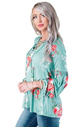 YOUJIA Mujeres túnica Camisetas de manga 3/4 Floral corte imperio Bandage Cross Criss Shirts Tops Blusa #2 Azul Verde