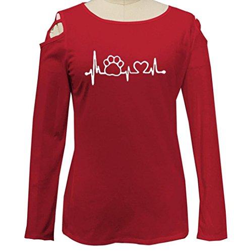 Chemisiers 3 Femmes Rouge imprim T Couleur Hauts XXL Tops Strappy 36 T Manches Chic Shirt Shirt Longues Chemise Blouses Casual 46 Guesspower S Froide paule xIUww