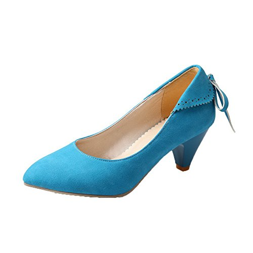 Pumps Shoes Frosted Toe Solid Round Heels WeenFashion Pull On Women's Kitten Closed Blue PwWn1qZBgx
