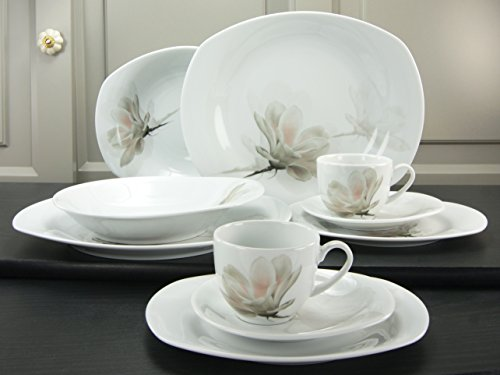 (Creatable 17041 Series Magnolie ros茅 Dinner Ware Set 12 Pieces, White)