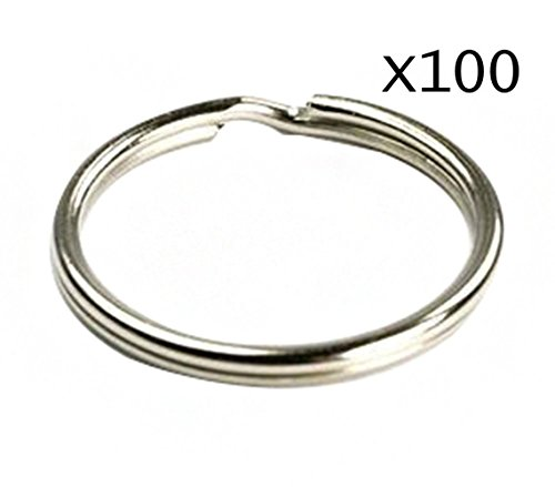 goeasybuy 100pcs 25MM 1'' Split Key Chain Ring Connector Keychain with Nickel Plated (25mm Split Ring)