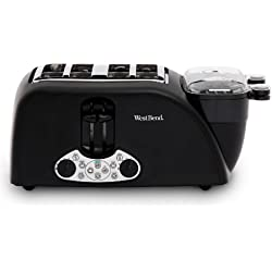 West Bend TEM4500W Quick Egg Bagel and Muffin Wide Slot Toaster with Removable Crumb Tray Features Meat or Vegetable Warming Tray with Egg Cooker and Poacher, 4-Slice, Black