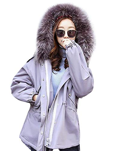 Larga Con Piel Imitación Elegantes Ropa Mujer Basic Invierno Fashion Manga Abrigos Grau Capucha Caliente Chaqueta Outdoor Espesar Temporada Informales Outerwear De xBCcqw